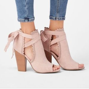 NWT Just For Fun Peep Toe Bootie - Blush